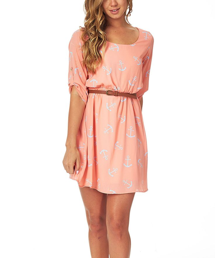 Pinkblush Peach & Blue Anchor Belted Three-Quarter Sleeve Dress | zulily