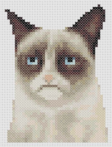 OMG!!  Grumpy Cat Cross Stitch on Etsy !! Too Cute !!  Her actual name is Tarder Sauce !!  LOL !!