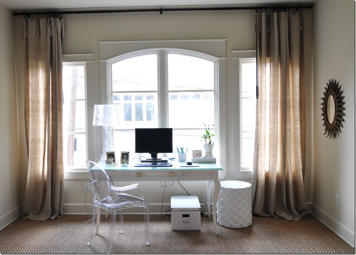 My New Home Office In The Master Bedroom Window Nook Love The White Desk Lucite Chair