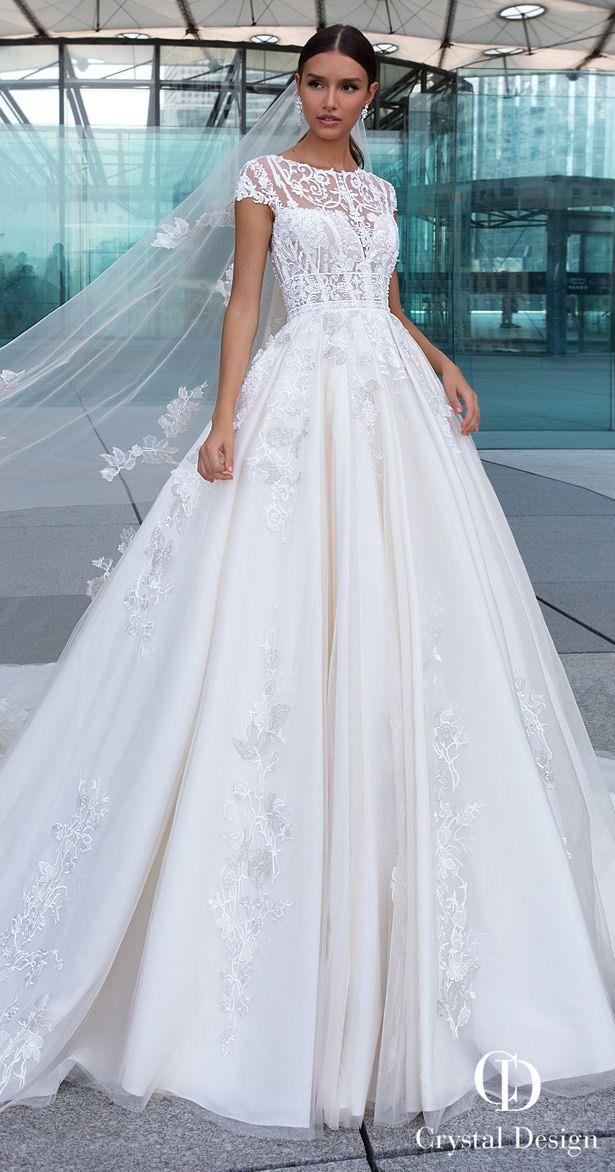 Crystal Designs Wedding Dresses 2019 Ball Gown A Line Princess