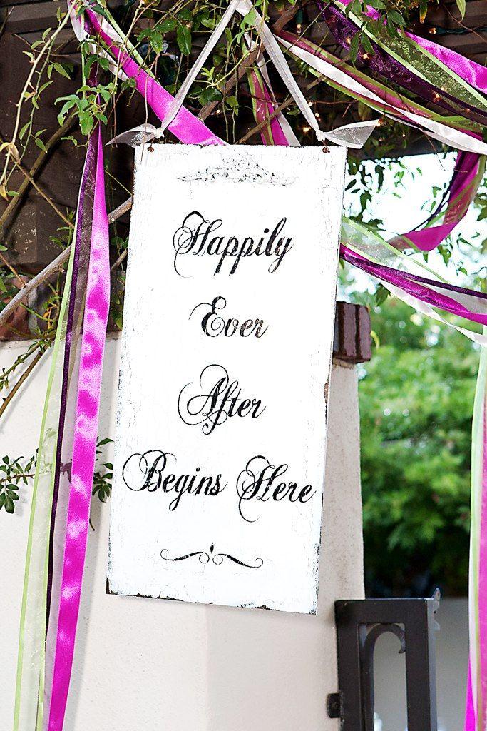 HAPPILY EVER AFTER Begins Here Sign, Vintage Wedding Sign. $49.00, via Etsy.
