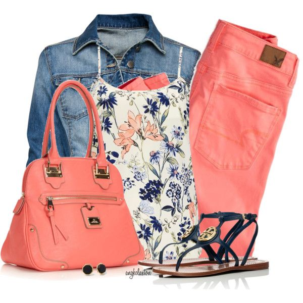 """Cami, Denim Jacket and Bright Jeans"" by angkclaxton on Polyvore"