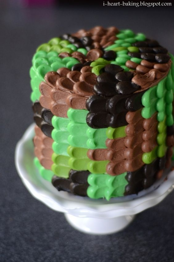Camo cake....love it but I would make it the blue camo for Navy!