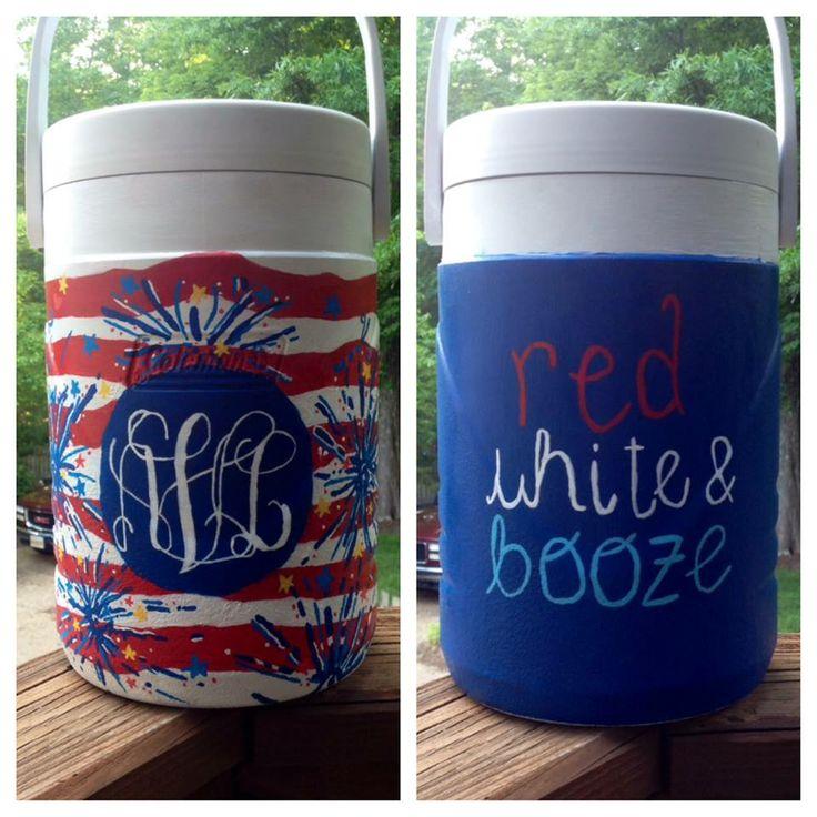 Red White and Booze USA Merica Monogram Half Gallon Lilly Pulitzer