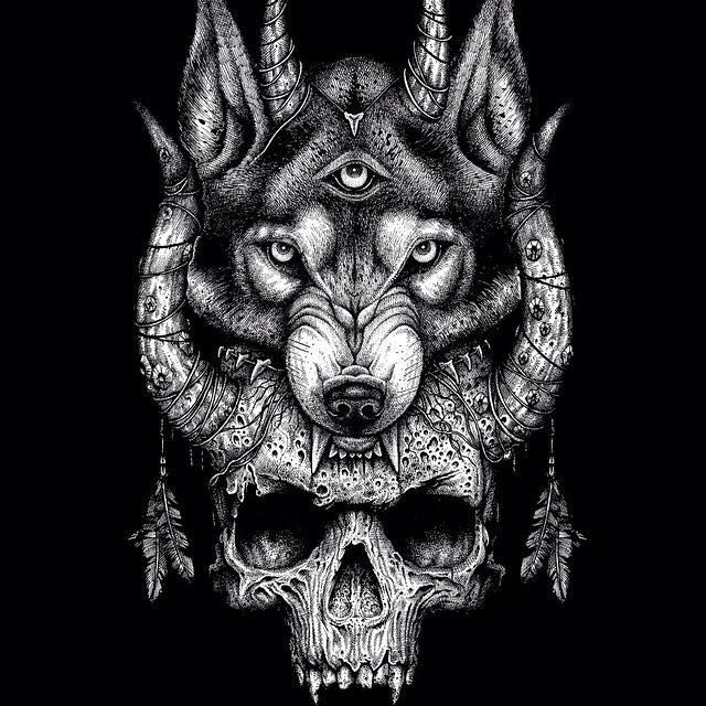 Werewolf skull tattoo images for Calavera lobo