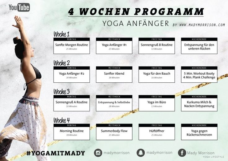 4 Wochen Yoga Programm | Für Anfänger & Geübte – Mady Morrison – Yoga Lifesty… – Madame Firlefanz