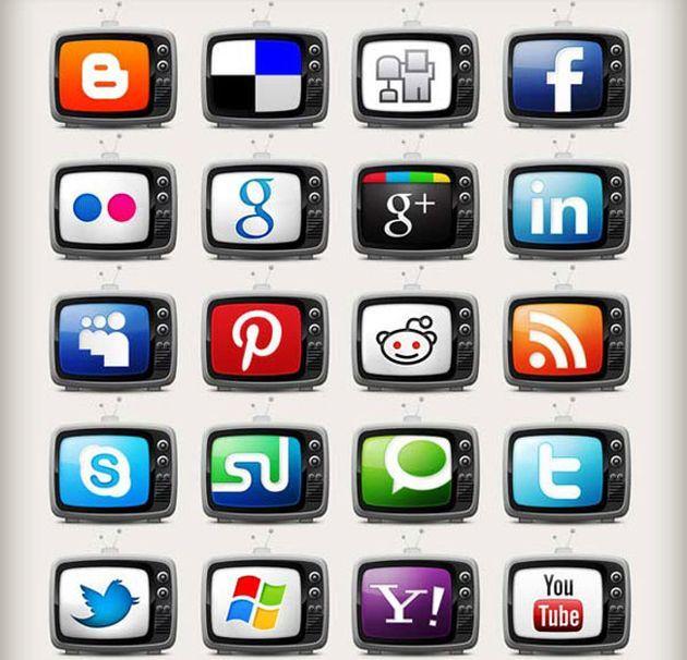 Television Social Media Icons Set, 20 iconos sociales gratuitos con forma de televisión