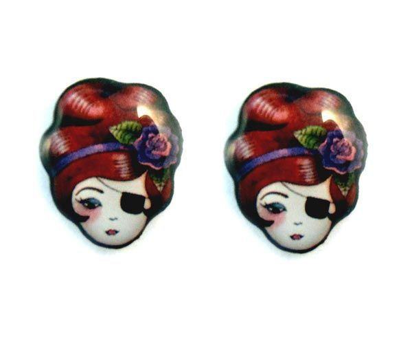 """""""Bandit Queen"""" by @Jubly Umph  Created from an original illustration these stud #earrings are made from solid stainless steel coated with resin."""