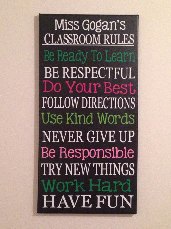 12 x 24 Personalized Subway Art. Classroom Rules Sign ...