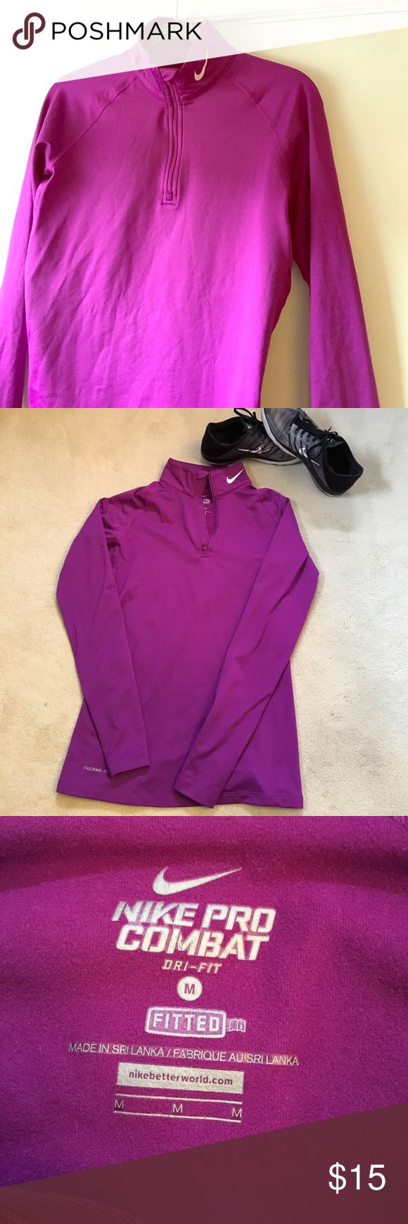NIKE Pro Combat Fitted half-zip Bright purple Fitted DriFit Half Zip. It has light fleece inside to keep you warm on your run and thumbholes. Tapered a bit in the back to fit nicely. Good condition and ready to outfit a real runner or keep you cozy running errands. Polyester and Spandex for a little stretch. Size MEDIUM Nike Tops Sweatshirts & Hoodies