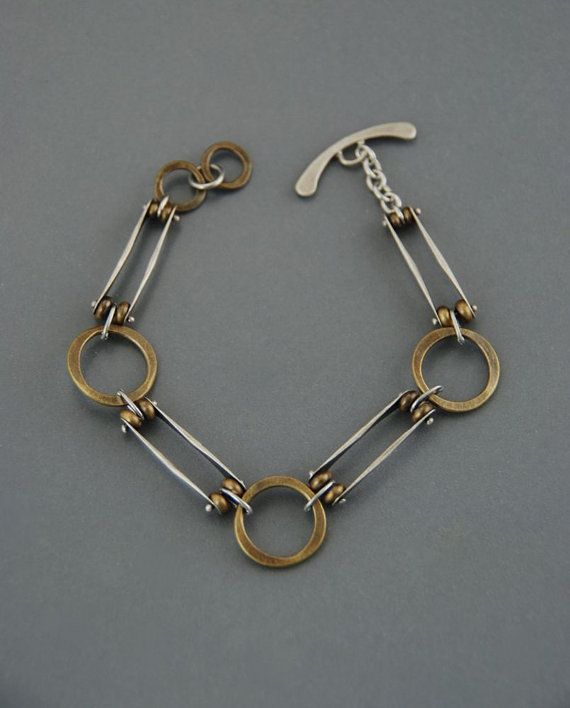This fun mixed metal bracelet is made from alternating