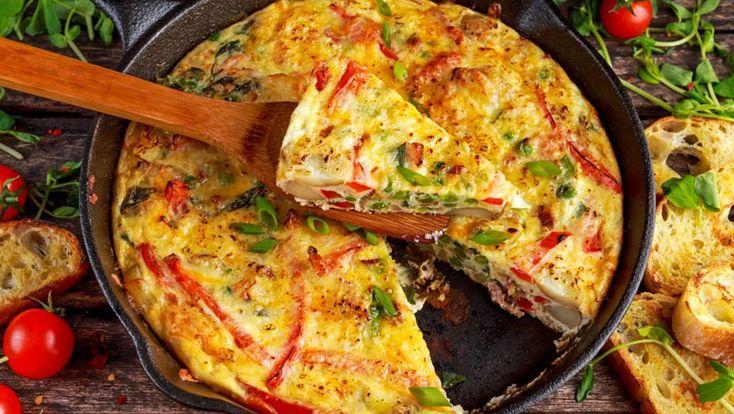 TIMPI DE PREPARARE Timp de preparare: 10 min Timp de gatire: 15 min Gata in: 25 min INGREDIENTE 4-5 cartofi medii 6 ouă bătute 250 g bacon 3 cepe verzi