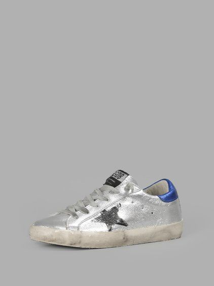 Golden Goose Womens Super Star Low-top Crackled-leather Trainers in Blue - Golden Goose Outlet