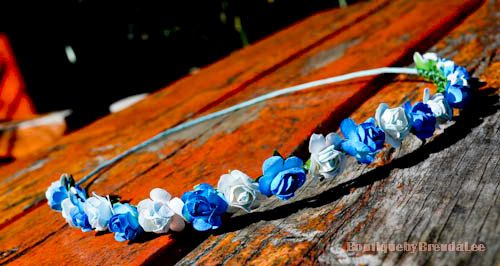 BRENDA LEE Blue/Turquoise/white mini Flower head wreath floral hair accessory/wedding bridal bridesmaids bride women adult girl party on Etsy, $31.59