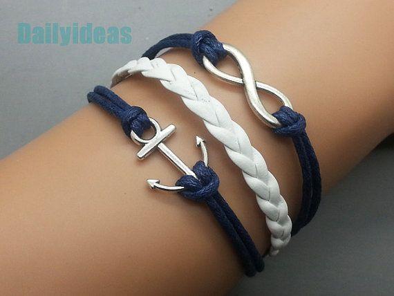 Anchor Bracelet Infinity bracelet Navy wax cord by dailyideas, $3.99