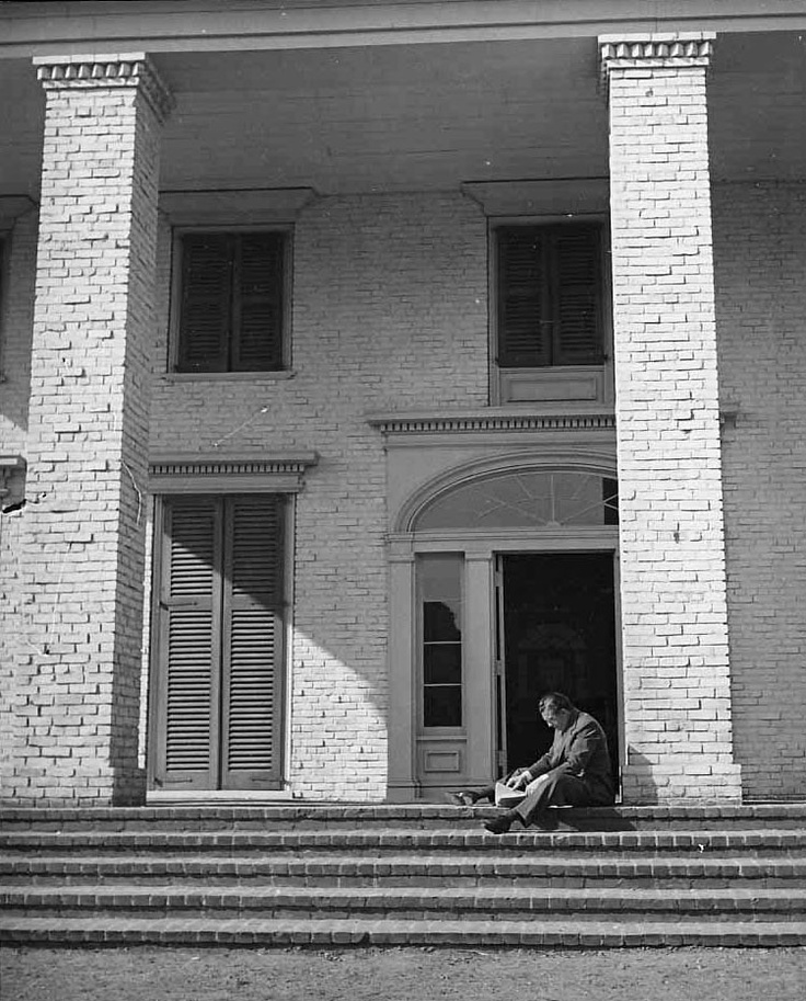 David O. Selznick on the steps of Tara. [Original pinner said 'The only Southern Plantation house I have ever seen that in any way resembles Tara is Bluff Hall in Demopolis, Alabama']