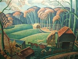 "Ethelbert White was an English wood engraver (1891 - 1972) ""The Fence Builders"""