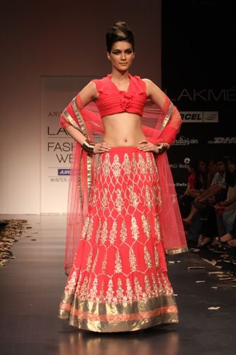 Bright Red With Gold Lengha    Lakme Fashion Week Winter Festive 2011. Designer: Anita Dongre