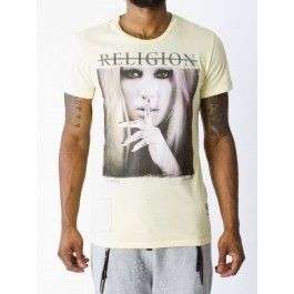 RELIGION CLOTHING SHUT THE FUCK UP T SHIRT YELLOW