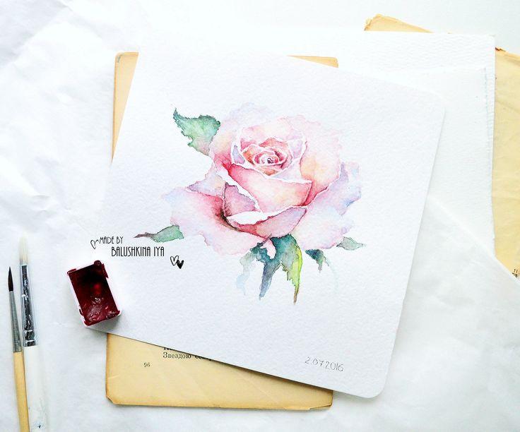 Handmade by Iya: акварельная роза + видео мастер - класс