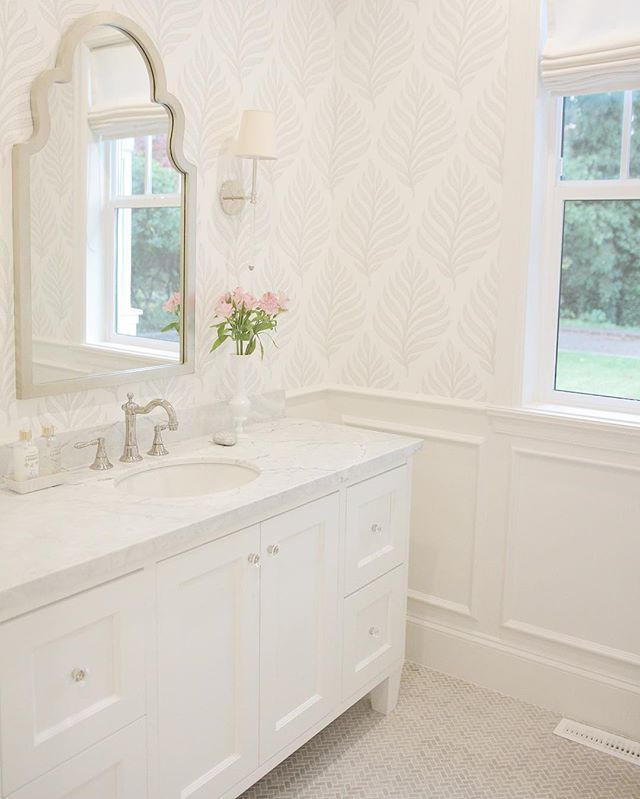 Powder bathroom, wallpaper, Layla grayce mirror, circa lighting sconces, emtek, Brizo, marble bathroom @JSHOMEDESIGN HOME