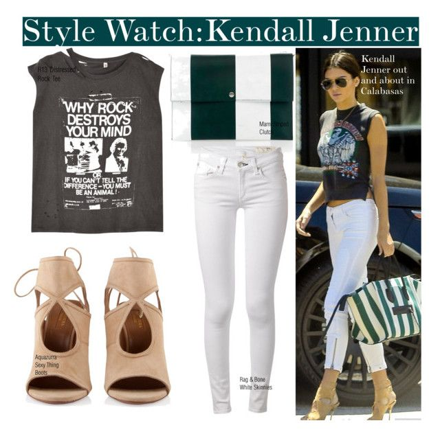 """Rocker Chic with Kendall Jenner..."" by nfabjoy ❤ liked on Polyvore featuring Marni, Aquazzura, rag & bone, R13 and Justin Bieber"