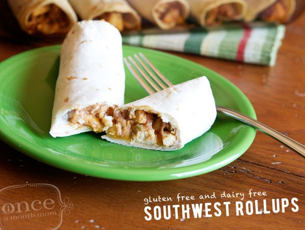 Gluten Free Dairy Free Southwest Roll-Ups from Once A Month Mom #glutenfree #dairyfree #freezer