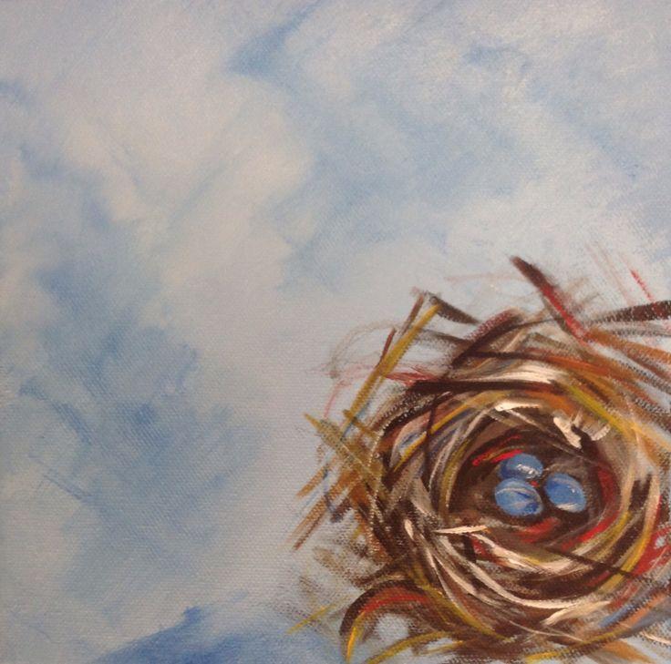"Nest, acrylic on canvas, 8"" x 8"", $30.00 CDN plus shipping and handling"