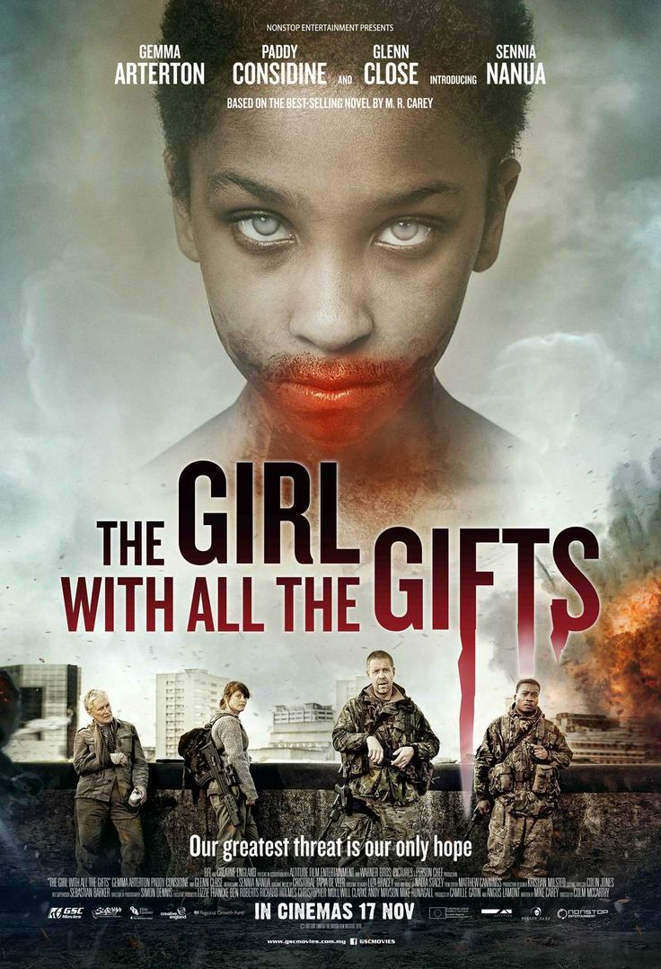 """The Girl with All the Gifts (2016) tagline: """"Our greatest threat is our only hope"""" directed by: Colm McCarthy starring: Gemma Arterton, Paddy Considine, Glenn Close, Sennia Nanua"""
