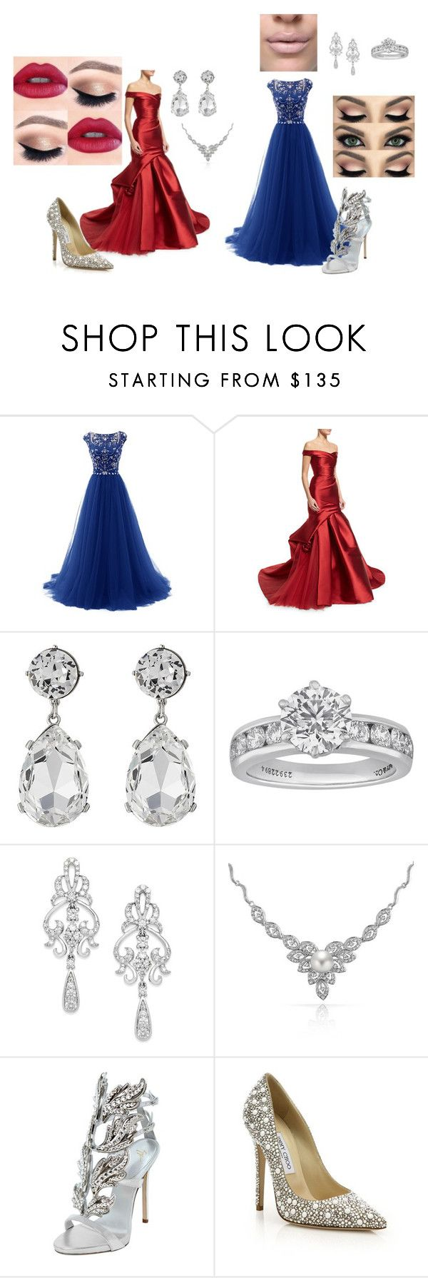 """""""Etiqueta rigurosa"""" by the197518 ❤ liked on Polyvore featuring Monique Lhuillier, Kenneth Jay Lane, Tiffany & Co., Wrapped In Love, Bling Jewelry, Giuseppe Zanotti and Jimmy Choo"""