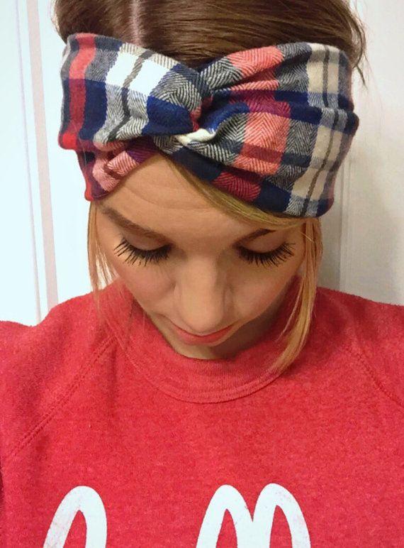 The Cozy Flannel Turban Twist Headband by LulaBelleAndCo on Etsy