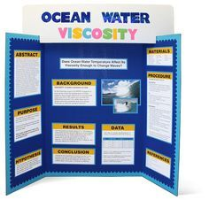 science fair project display board with Elmer's tri-fold display board header card