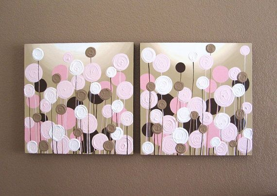 Nursery Wall Art, Pink and Brown Textured Flowers, Set of two 20x20 Acrylic Paintings on Canvas - READY TO SHIP via Etsy