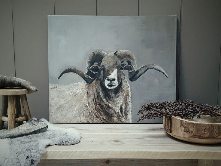 Drents heideschaap acrylverf afgewerkt met mat vernis (schilderijen by dini )