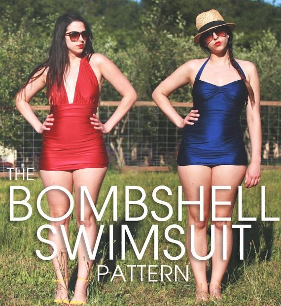 Ladies....THIS! Bombshell swimsuit PDF Pattern by ClosetCaseFiles
