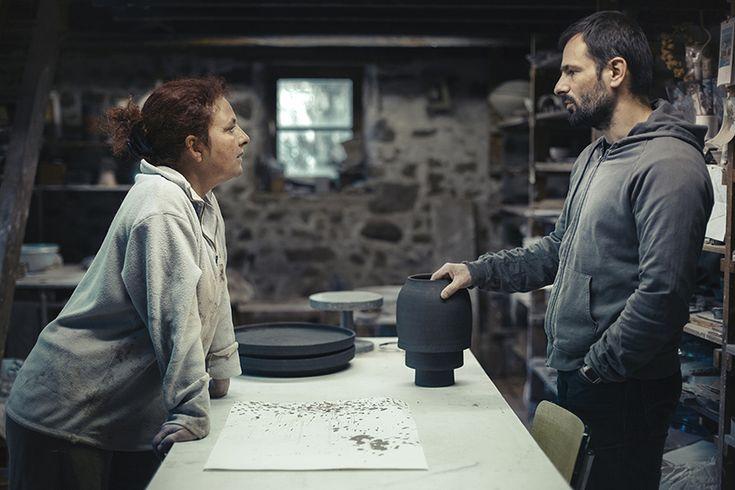 Samuel Accoceberry, designer, & Kristiane Hink, ceramist for  Porcelain+Stoneware+Wood collection