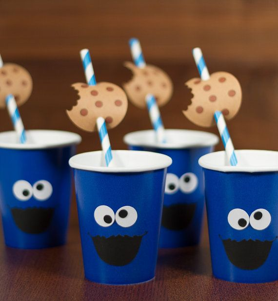 Cookie Monster inspired paper cups/ by FestivaPartyDesign on Etsy $20.00 : cookie monster paper plates - pezcame.com