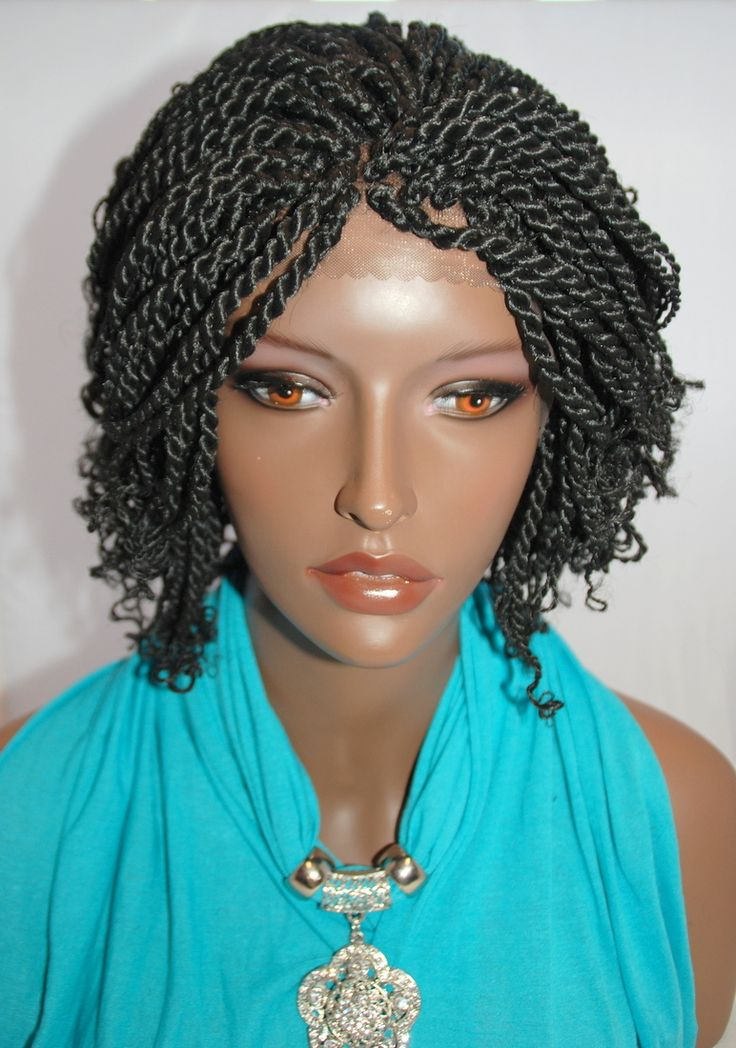 Braided Lace Front Wig Kinky Twist Color 1B in 8 Inches (KINKY1BL8))