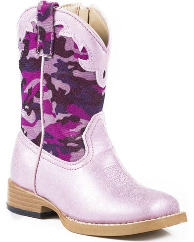 Roper Toddler Girls' Glitter Camo Cowgirl Boots - Square Toe, Pink