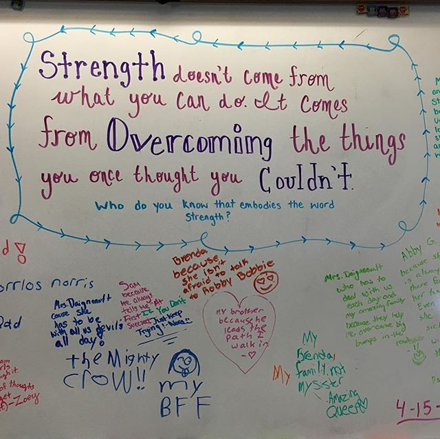 Happy Friday! #miss5thswhiteboard #teachersfollowteachers #iteachfifth #strength