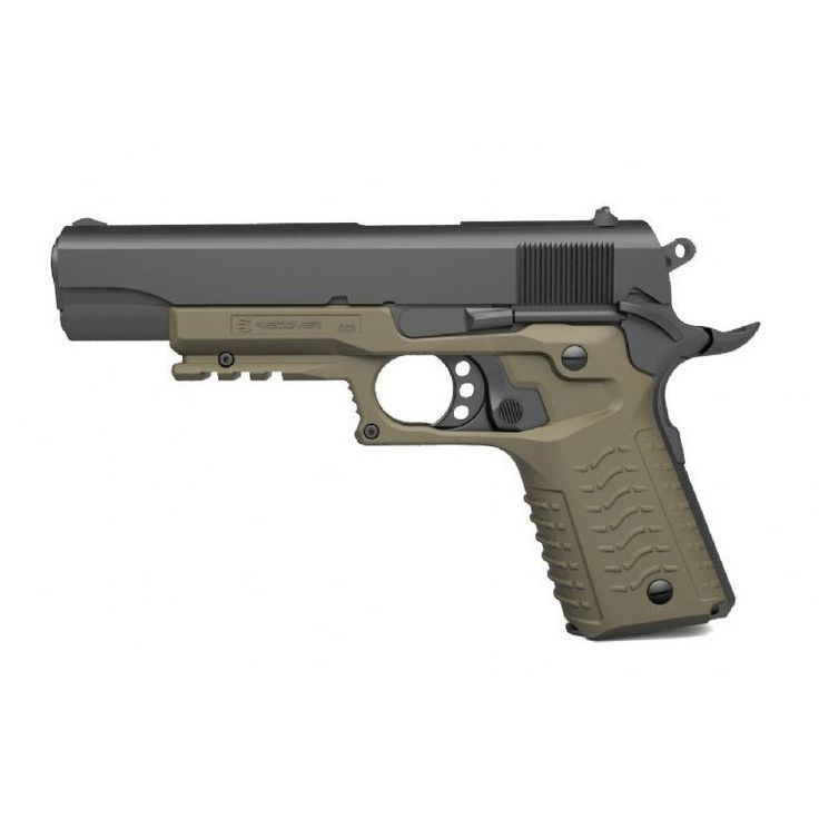 Transform your 1911, adds a Picatinny rail system in under 3 minutes, no permanent damage, high-grade reinforced polymer. The Recover Grip and Rail System can be easily installed onto most standard si