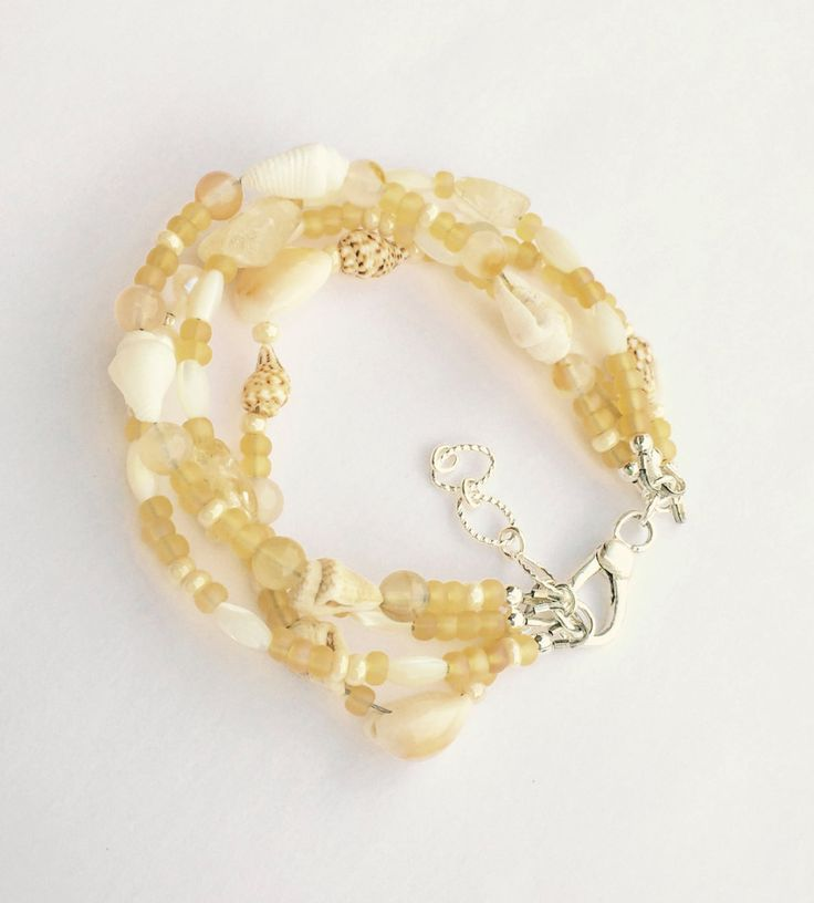 Citrine Bracelet with Sea Shells and Freshwater Pearls, Yellow Beach Bracelet, Beach Wedding, Pale Colors https://www.etsy.com/listing/451169626/citrine-bracelet-with-sea-shells-and?utm_campaign=crowdfire&utm_content=crowdfire&utm_medium=social&utm_source=pinterest
