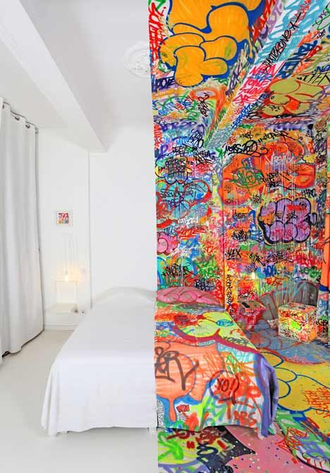 French graffiti artist Tilt has swamped one half of a Marseille hotel room in decoration, while the other half remains completely blank @Dezeen magazine: Street Artists, Marseil France, Color, Interiors Design, Graffiti Rooms, Marseille France, Panic Rooms, Graffiti Artists, Hotels Rooms
