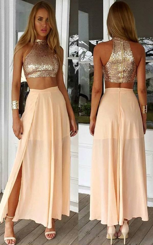 Pink Sequin Maxi Two-Piece