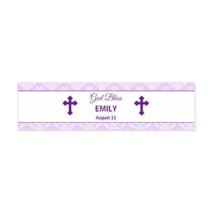 Baptism Christening Pink Bottle Purple Damask Water Bottle Label - girl gifts special unique diy gift idea