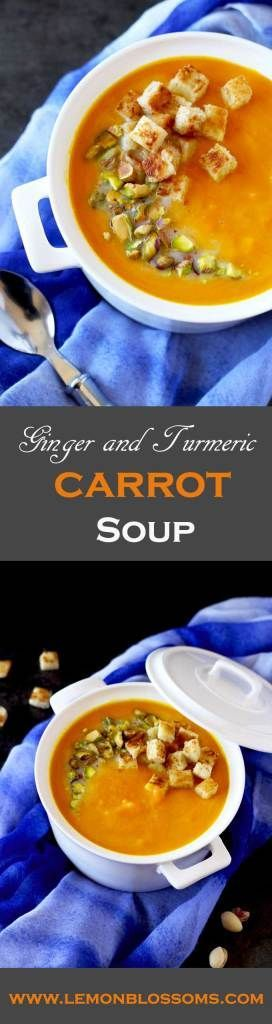 This immune boosting Ginger and Turmeric Carrot Soup is simple and easy to make. Sweet potato and freshly squeezed orange juice brighten up the flavor. Finished with a bit of coconut milk to add creaminess and body. #carrotsoup #soup #turmeric #healthy #coconutmilk