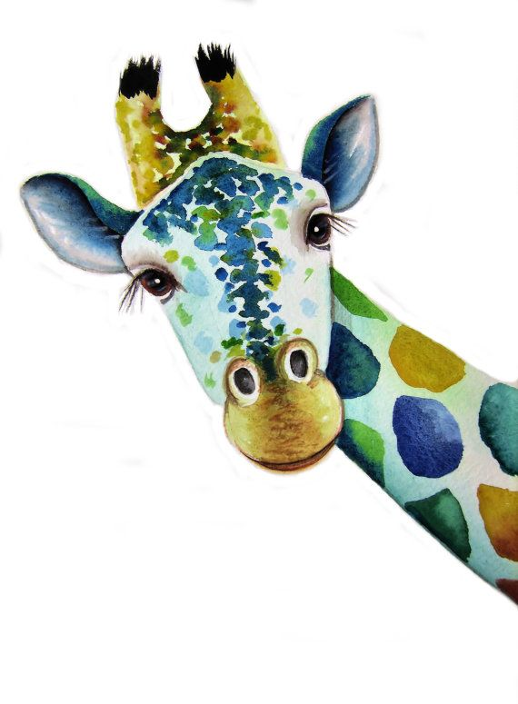 GIRAFFE Art  Signed Print from an original watercolour painting by artist Maria Moss. Available in 4 sizes.