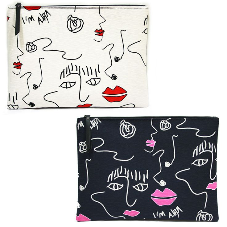 Korea Women LIPS Clutch Pouch Bag Handbag Purse Faux Leather Polyester Large NEW #KoreaBrand #Clutch