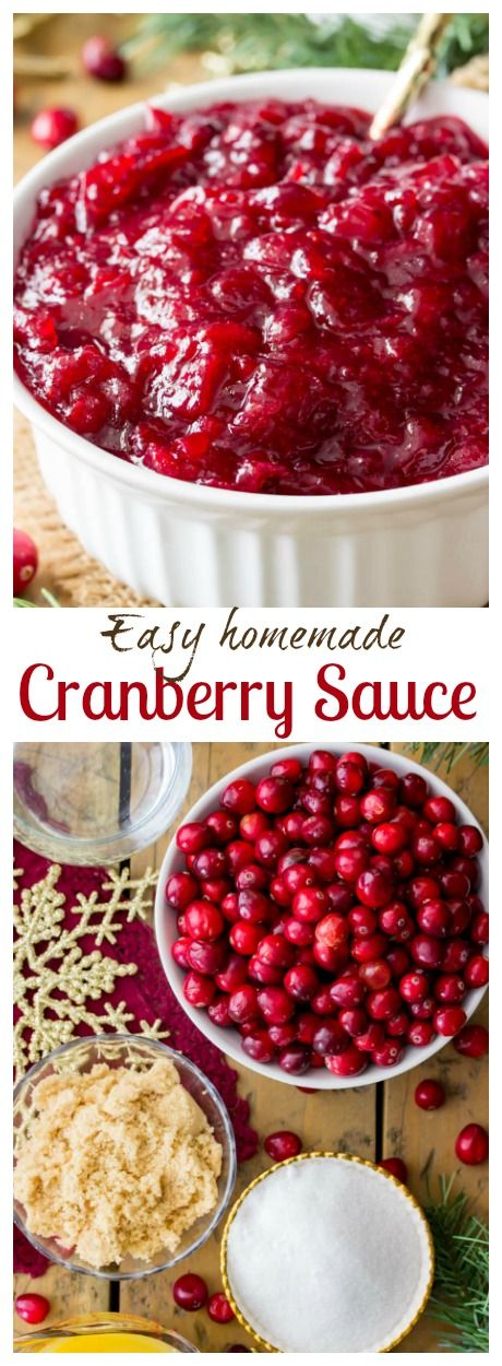 A simple recipe for fresh and easy homemade cranberry sauce.  Made with real whole cranberries and just a handful of ingredients!