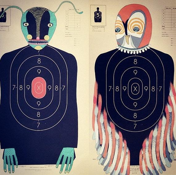 Custom HandPainted Paper Shooting Targets by jenniferdavis on Etsy,